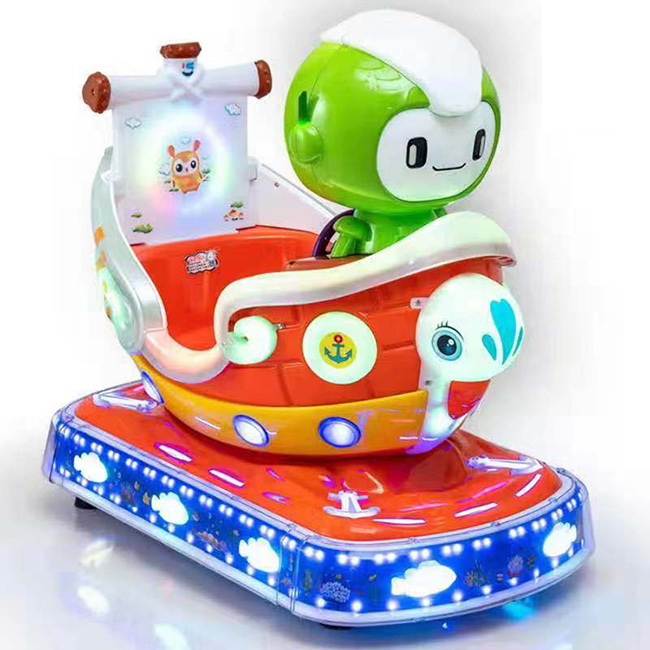 Hot sales space airship cute amusement coin operated rgb light kiddie rides game machine