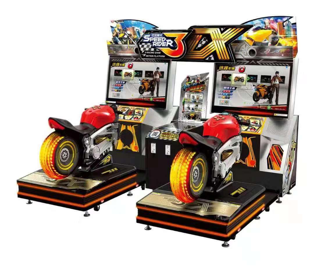 Amusement park coin operated speed driver 3 double seats simulator motor racing arcade game machine