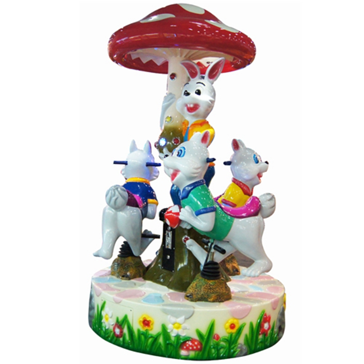Rabbit style 3 players kid carousel ride for kids playground