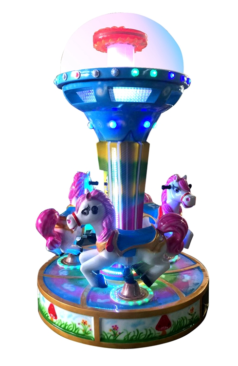 Colorful and cute carousel 3 players kids carousel ride