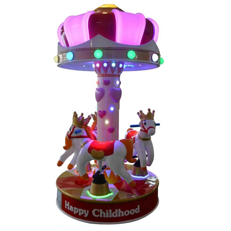 Dinibao Factory Happy childhood kids 3 players horse carousel rider game machine
