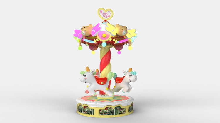 3 players kids happy go round carousel